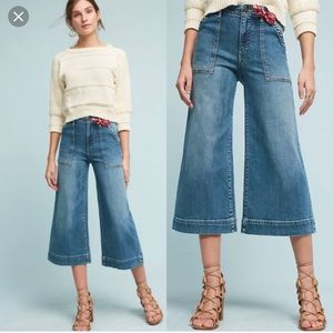 Pilcro Anthropologie wide leg cropped high rise